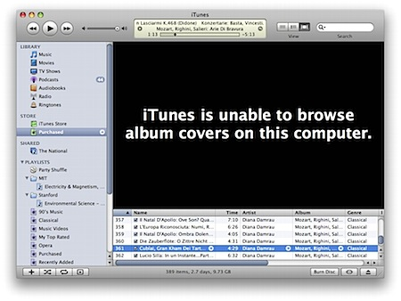 iTunes error message- Stark black
