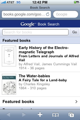 Google Books for Mobile: Top page