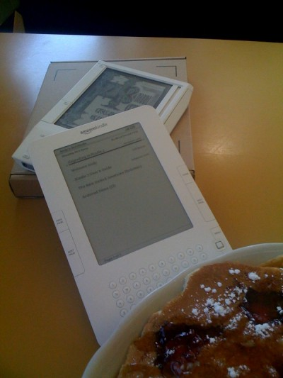 From back to front: Kindle 1, Kindle 2, YUM.