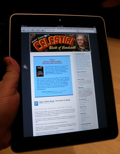 Yes, everyone at the press event needed a shot of their own site on the iPad.