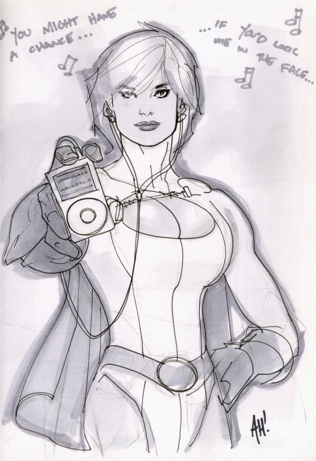 Power Girl convention sketch by Adam Hughes.