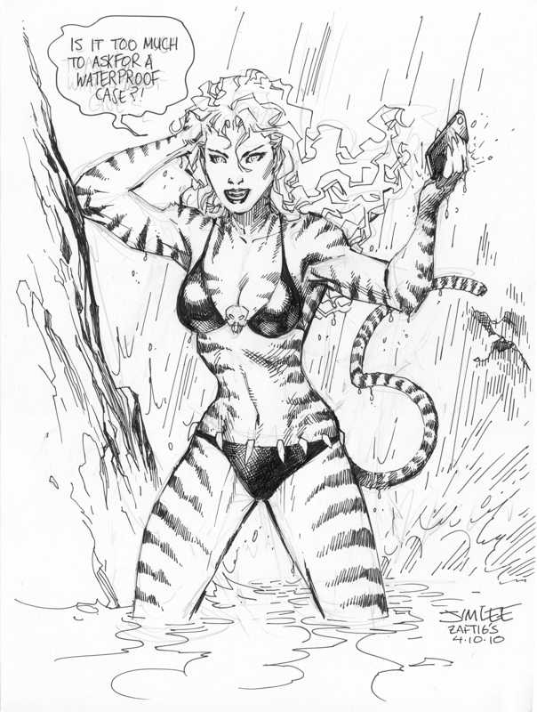 Tigra, drawn by Jim during dinner. As the sketch progressed, our table was getting progressively more attention from male waiters and busboys.