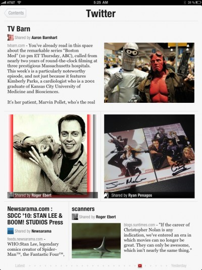 Screenshot of iPad app Flipboard, showing a collection of articles from various sources.