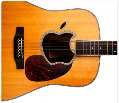 Artwork from Apple invitation. Acoustic guitar with an Apple logo-shaped soundhole.