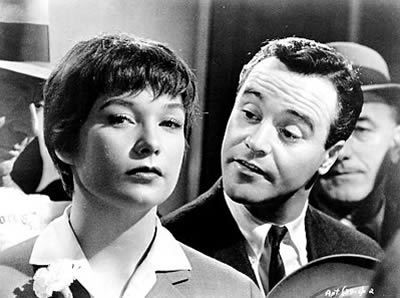 "Promo photo from ""The Apartment"" with Shirley McLane and Jack Lemmon."