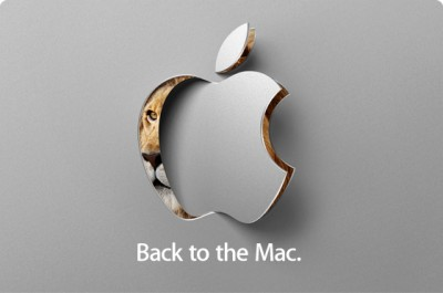 "Apple logo rotating through an aluminum slab, with ""Back To The Mac"" captioned underneath."
