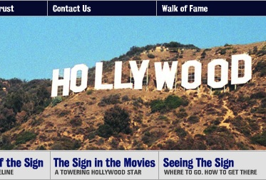 Image of the HOLLYWOOD sign, clipped from their website navigation bar.