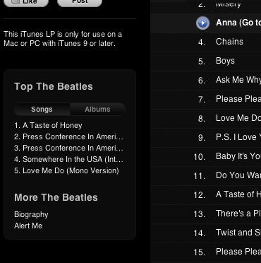 """Beatles Top Sellers"" on iTunes. The #2 and #3 slots are held by audio interviews."