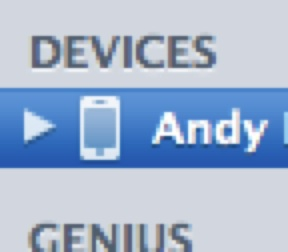 "Zoomed-in view of the iTunes ""Devices"" list, including an iPhone that's been highlighted. The phone is white."
