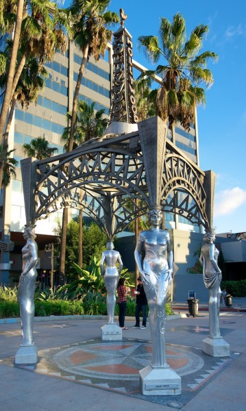 The Hollywood La Brea Gateway. A dramatic steel gazebo in which the four columns are life-sized statues of four legendary screen women.
