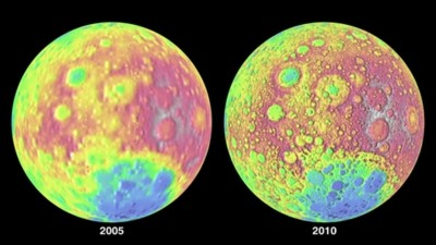 NASA image comparing 2005 and 2010 topographical data of the lunar surface.