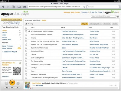 iPad browser with the Amazon CloudPlayer.