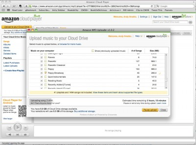 Screenshot of Amazon.com browser window, showing the Cloud Player; foreground window is the Amazon MP3 Uploader, copying iTunes playlists into Amazon Cloud Drive.