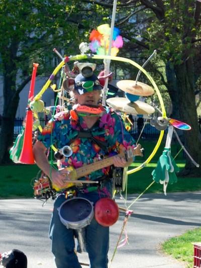 Lousy one-man band in Boston's Public Garden.