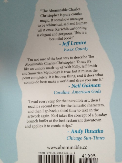 """Back-cover blurbs for the """"Abominable"""" book. My blurb is under Neil Gaiman's."""