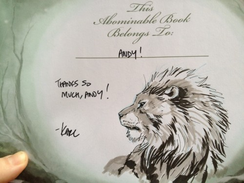 Title page of book, dedicated to me and with a nice marker sketch of a lion in it