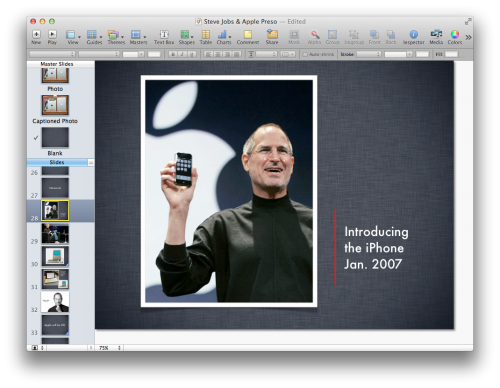 Keynote window, showing a slide of Steve Jobs holding up an iPhone
