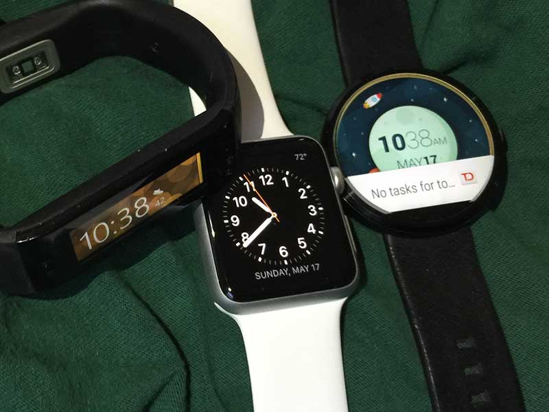Microsoft Band, Apple Watch, and the Moto 360.